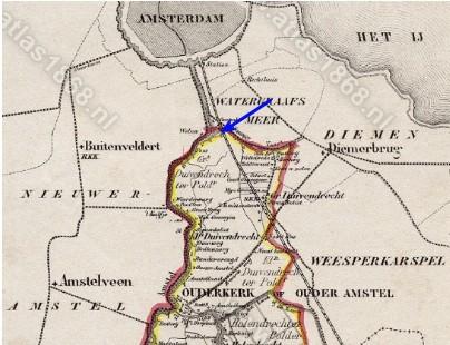 Kaartje Ouder-Amstel 1868