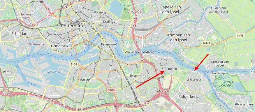 Kaartje omgeving Rotterdam met pijlen naar Bolnes en Slikkerveer
