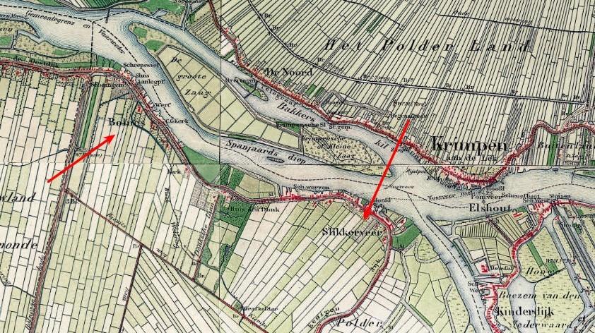 Kaartje uit 1900 N.O hoek eiland IJsselmonde