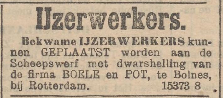 Afb.: Advertentie IJzerwerkers