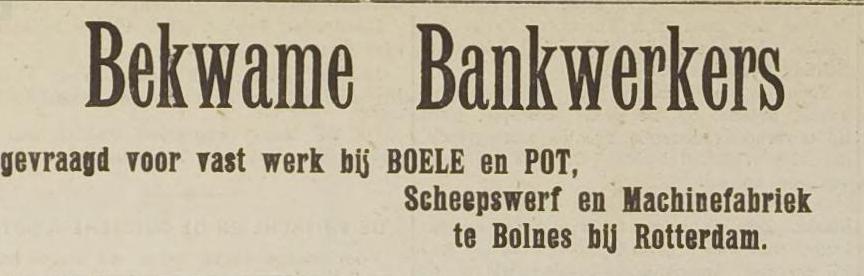 Afb.: Advertentie van Scheepswerf en Machinefabriek Boiele en Pot