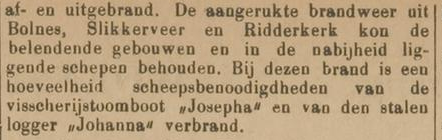 Afb. Vlaardingsche Courant over de brand van 1903