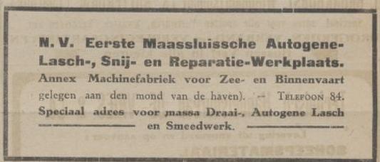 Afb. Advertentie van een lasbedrijf uit 1920