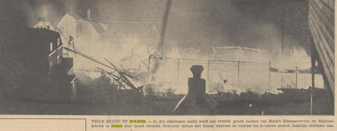 Afb. Krantenfoto van de brand in juni 1939