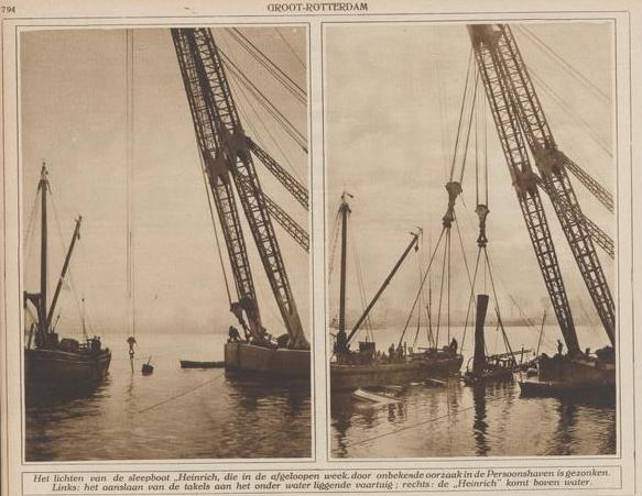 Afb.: Lichten van de sleepboot Heinrich in 1926